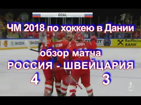 Видео IIHF Россия-Швейцария 4:3. Голы. 12 мая 2018 г. ЧМ-2018 в Дании