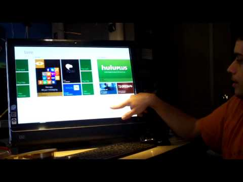 Windows 8 demonstration on a touchscreen computer