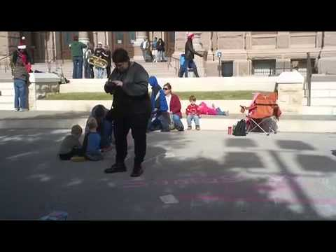 Occupy Austin - Santa Arrested 4 Chalking w/ Kids at Texas Capitol (Part 1)