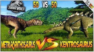50 KENTROSAURUS VS 50 METRIACANTHOSAURUS! EPIC DINOSAUR BATTLE! Jurassic World Evolution Gameplay