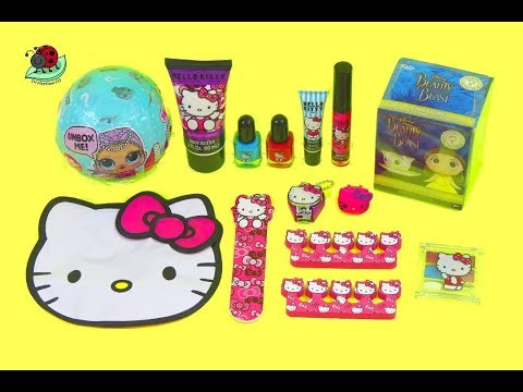 Hello Kitty MEGA Cosmetic Set #z with LOL Surprise Dolls Mermaid and Toy Surprises | itsplaytime612