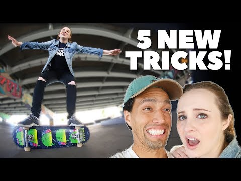 Teaching Girlfriend 5 NEW Skate Tricks!