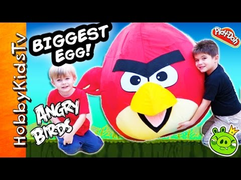 Worlds Biggest Angry Bird Surprise Egg! Toys Inside Red Bird + Trash Pack, Star Wars Hobbykidstv video