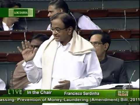 P.Chidambaram during passing  of the Money Laundering (Amendment) Bill in Lok Sabha : 29 Nov, 2012