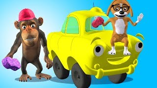 Pup Helps Monkey to Wash an Automobile with Soap Finger Family