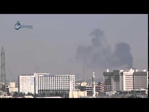 Qasioun News: Rif Dimashq: Warplanes launch airstrikes over Douma city 13-2-2016