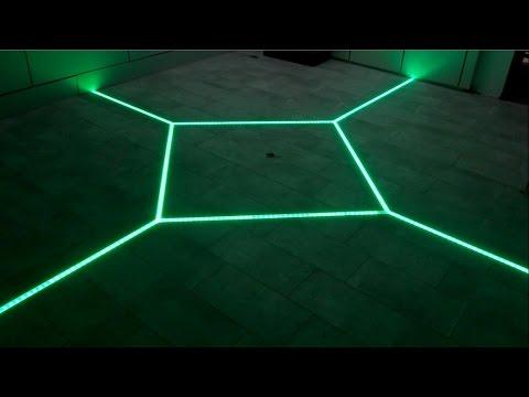 how to LED floor tiling system DIY make your floor interactive Aluminum LED Light tilebar profile