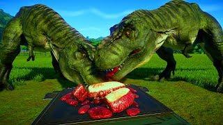 2 T Rex vs 2 Allosaurus, 2 Stegosaurus, 2 Carcha, 2 Triceratops - Dinosaurs Fighting