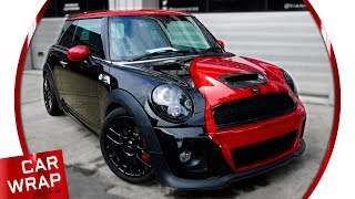 John Cooper Works Mini Chrome Red Car Wrap