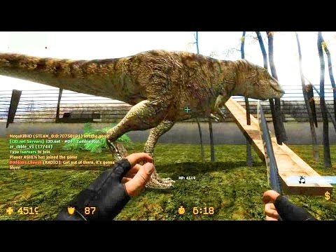 Counter Strike Source Zombie Escape mod online gameplay on Jurassic Park