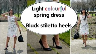 Crossdresser - light colourful spring dress and black stiletto high heels | NatCrys