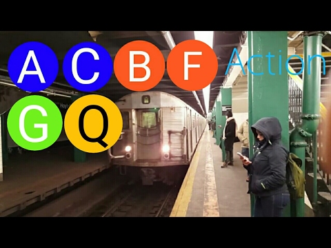 NYC Subway#46 (A)(C)(B)(F)(G)(Q) Train Action With R32 (A) Train & NIS R46 (A) Train