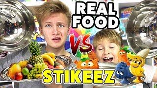 STIKEEZ vs.REAL FOOD 🤣🤣🤣  Fun-Challenge 😁 TipTapTube Family 👨‍👩‍👦‍👦