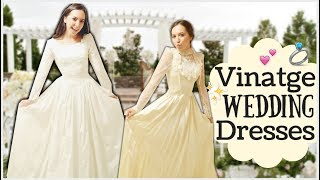 TRYING ON REAL VINTAGE WEDDING DRESSES