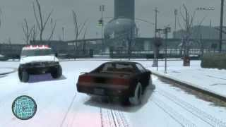 Grand Theft Auto IV - Snow Mod Chase with K.I.T.T. from Knight Rider