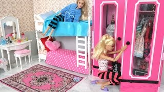 Barbie Bedroom Bunk bed Morning Routine دمية باربي غرفة نوم Beliche para Barbie Quarto