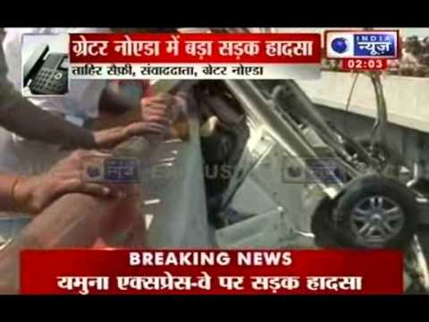 India News : One killed, 4 injured in road mishap on Yamuna Expressway