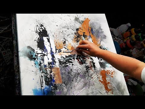 Abstract Painting Demonstration in Acrylics - Modelling Paste, Brush and Palette Knife - Stripe