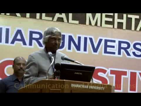 Apj Abdul Kalam's Speech At Bharathiar University, Space Festival 2012 video
