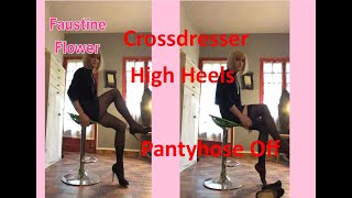 Cross Dresser Secretary in Leather  and High Heels show her pantyhose off