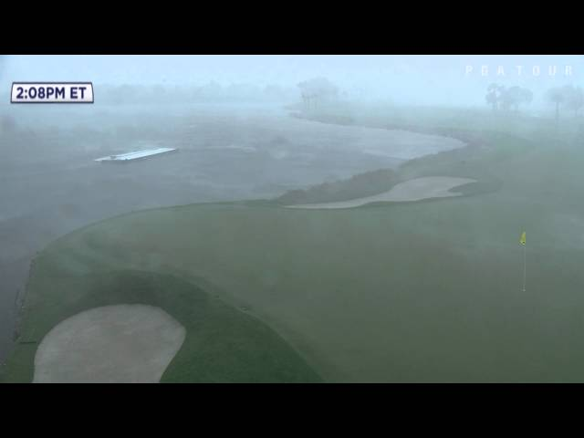 Intense rain continues to pound the course at Honda