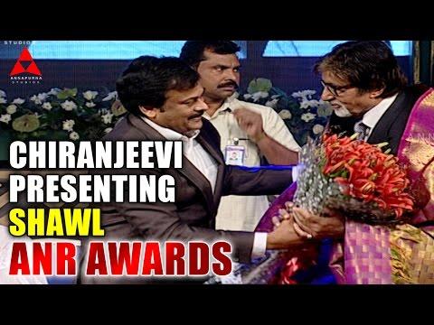 Chiranjeevi Presenting Shawl To Amithab bachan at ANR Awards