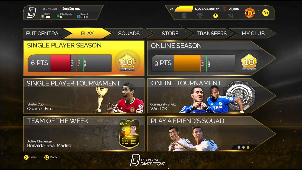 FIFA 16 Ultimate Team Menu Design - FUT 16