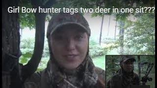 Girl Bow hunter tags two deer in one sit???---/Food Plot fertilizing