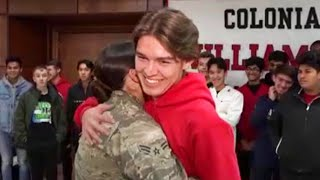 Teen and Sister in Air Force Hug During High School Surprise