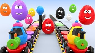 Learn Colors : with Toy Train, Street Vehicles and surprise eggs-preschool learning videos