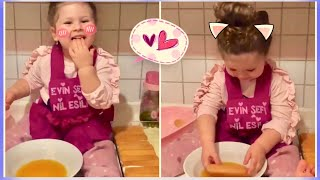 Cute baby Girl Cooking delicious Dessert 😂😂 Funny babies Fun kids