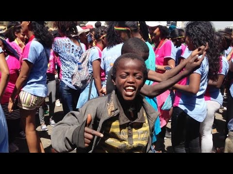Talented Street Kids Having Fun Addis Ababa Ethiopia
