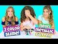 3 Color Slime Challenge! New Colors * Neon, Metallic & Glitter!