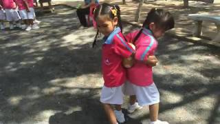 Outdoor Games Kindergarten: Teamwork Race Using a Ball