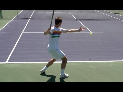 Richard Gasquet Forehand and Backhand from Back Perspective - Indian Wells 2013 - BNP Paribas Open
