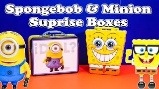 SPONGEBOB & MINION Surprise Boxes a Despicable Me and Spongebob Toys Video