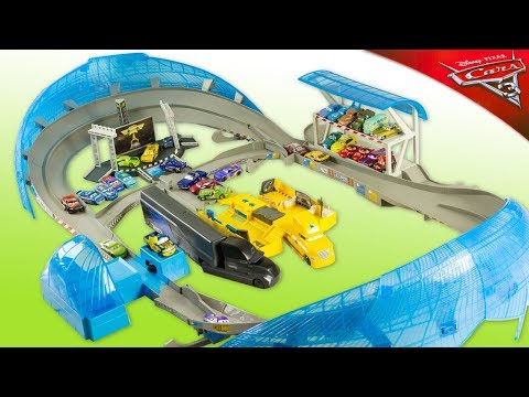 Cars 3 Ultimate Florida 500 Speedway Motorized Piston Cup Toy Review McQueen Cruz Storm