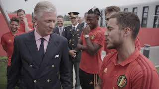 The King of Belgium visits the Belgian national team and jokes with Eden Hazard