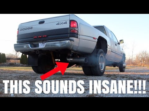 12 VALVE CUMMINS GETS NASTY 5 inch STRAIGHT PIPE EXHAUST!!! *EXTREMELY LOUD!*