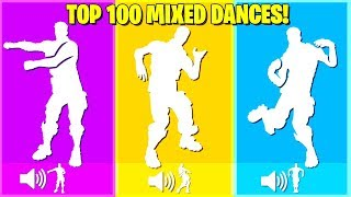 Top 100 Mixed Dances Synced Perfectly In Fortnite Battle Royale.!