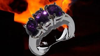 trilogy ring with amethysts