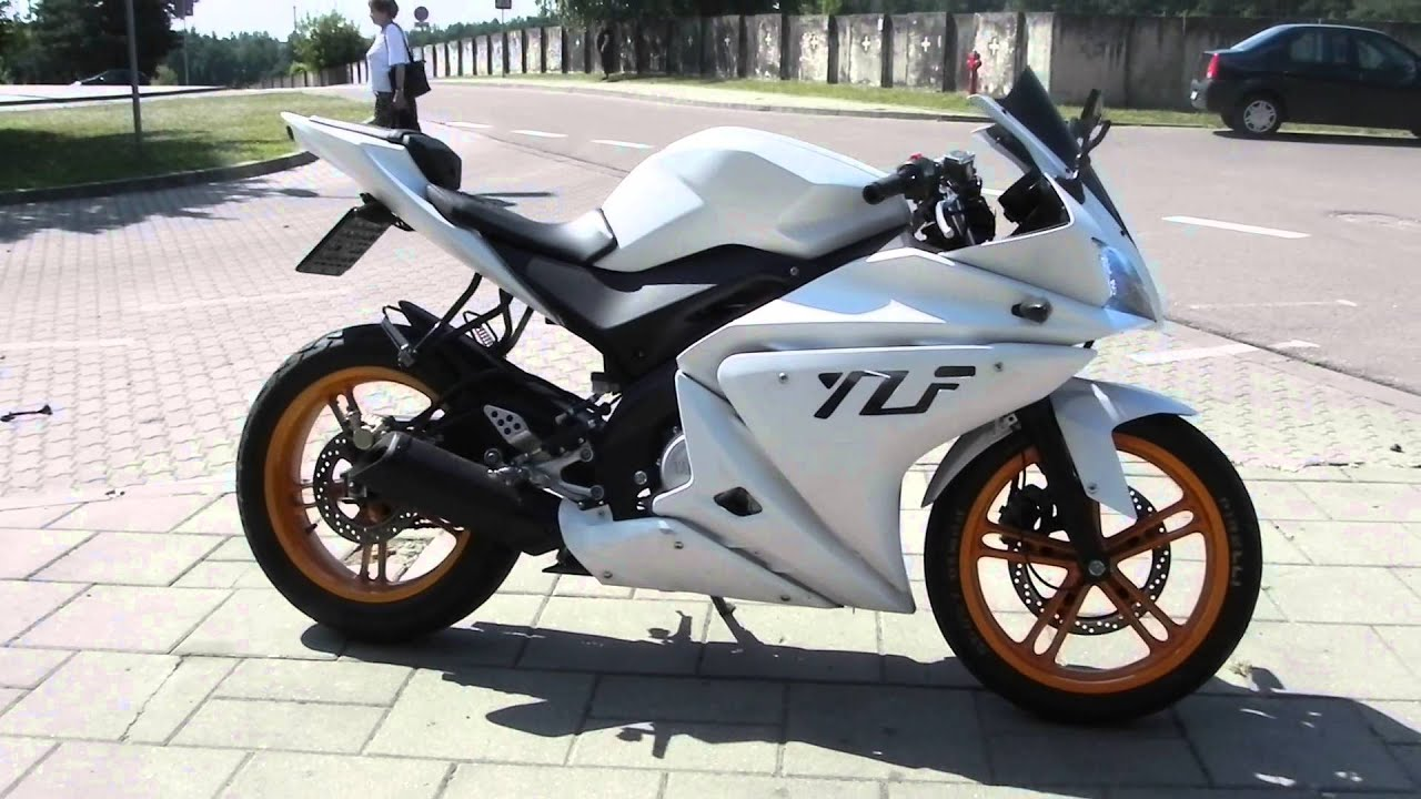 yamaha yzf r125 180 malossi walk around and r6 exhaust youtube. Black Bedroom Furniture Sets. Home Design Ideas
