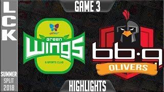 JAG vs BBQ HIGHLIGHTS Game 3   LCK Summer 2018 Week 5 Day 2   Jin Air Greenwings vs BBQ Olivers G3