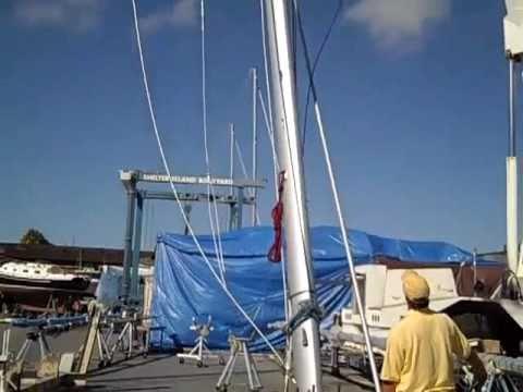 Jeanneau 53  Mast  stepping & install By: Ian Van Tuyl