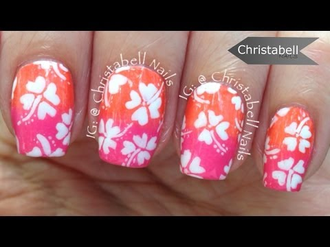 Christabell Nails Hawaiian Flowers Nail Art Tutorial