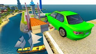 Open Bridge Jumping Car Crashes #5 BeamNG drive