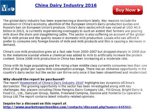 MarketReportsOnline: China Dairy Market 2016 Analysis