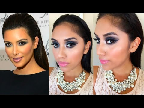 Kim Kardashian Makeup Tutorial:Blue Smokey Eye + Nude/Pink Lip | (Wet) Slick Back Hair Tutorial