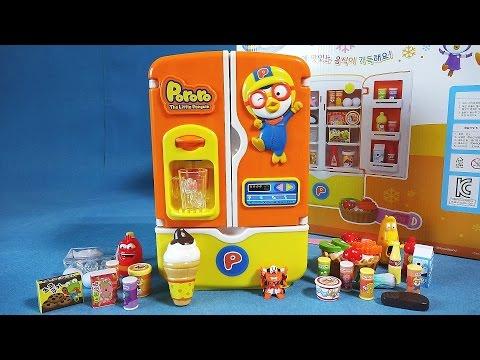 뽀로로 냉장고 / 또봇 X 미니어처 음식 장난감 냉장고 채우기 식완 라바 toys/ unboxing Pororo toy