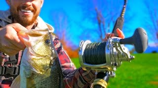Bass Fishing with a GIANT REEL Challenge!!!